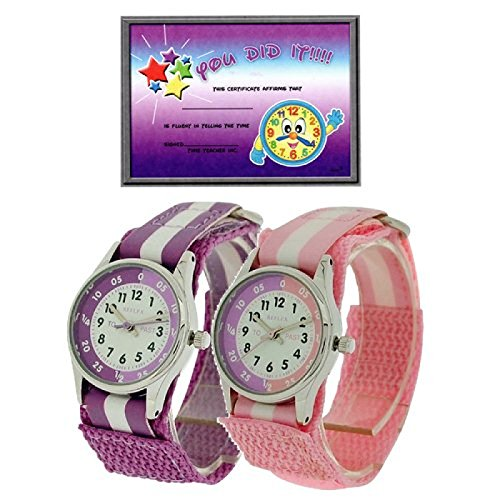2 X Reflex Kinder Zeitlernuhr lila rosa Klett Stoffarmband Uhr Lesen Urkunde