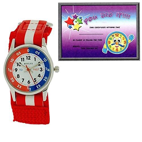 Reflex Kinderuhr unisex rot weisses Stoffarmband mit Klettverschluss REFK0002 Uhr Lesen Urkunde
