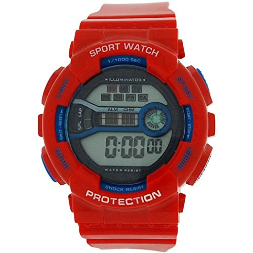 Reflex Boy s Maedchen Digital Chronograph Rot Blau Kunststoff Gurt ref0096