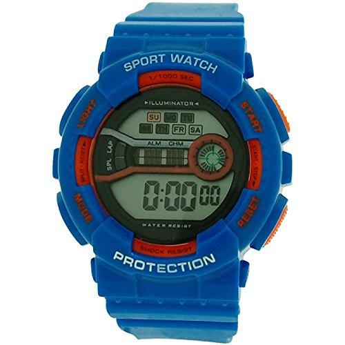 Reflex Boy s Maedchen Digital Chronograph Blau Orange Kunststoff Gurt ref0095