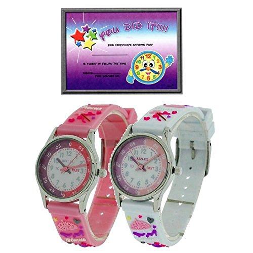 2 X Reflex Maedchen 3D Prinzessin Zeitlernuhr rosa weisses Stoffarmband Uhr Lesen Urkunde