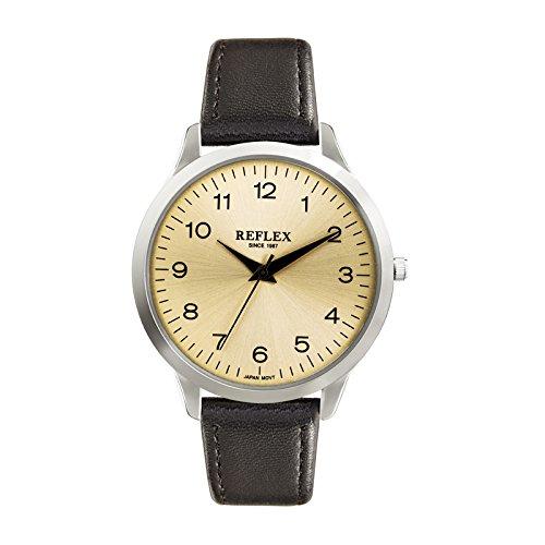 Reflex fuer Herren REF0023 rundes silberfarbenes Zifferblatt analoges Zifferblatt Braun PU Armband
