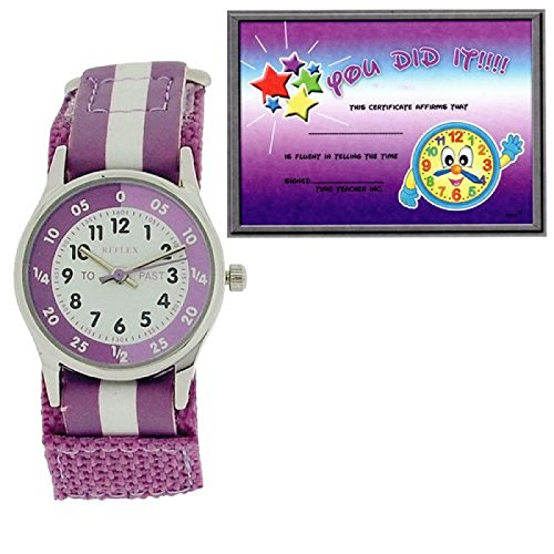 Reflex Kinder unisex Zeitlernuhr lila weisses Klettarmband REFK0004 Uhr Lesen Urkunde
