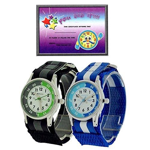 2 X Reflex Kinder Zeitlernuhr blaues schwarzes Klett Stoffarmband Uhr Lesen Urkunde