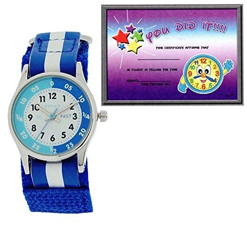 Reflex Kinder Zeitlernuhr blaues weisses Klett Stoffarmband REFK0001 Uhr Lesen Urkunde