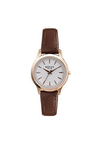 Reflex Damen Uhr Rundes Weiss Zifferblatt mit Braunem PU Lederband ref0051