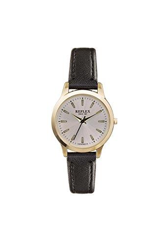 Reflex Damen Rund Silber Zifferblatt Uhr Mit Schwarz PU Lederband ref0048