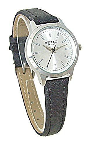 Reflex Damen Rund Silber Zifferblatt Uhr Mit Schwarz PU Lederband ref0053