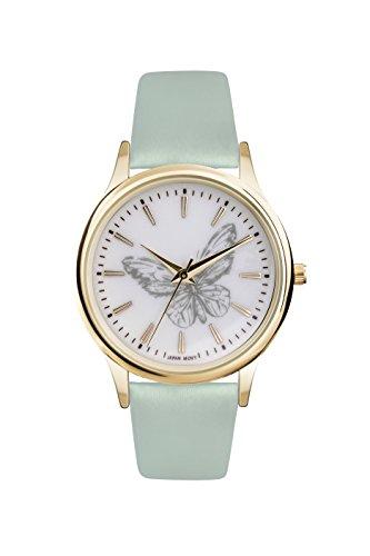 Damen Sommer Armbanduhr Edelstahl vergoldetes Gehaeuse weiches PU Band Aquablau ref0005