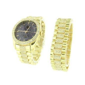 Gold Finish Armband Herren Geschenk Set Lab Diamanten schwarz Zifferblatt Stahl Rueckseite Verkauf 4812