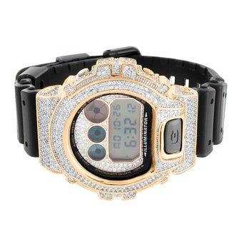 Armbanduhr Digitaluhr DW6900 Armbanduhr Rose Gold Finish Herren Lab Diamant Schwarz Silikon Band Digital Verkauf