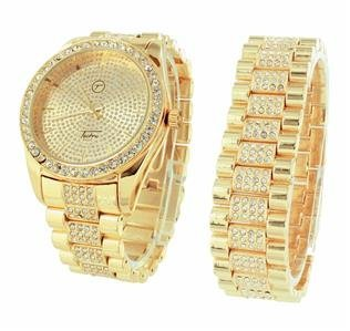 Gold Finish Herren Armbanduhr Iced Out Hip Hop passendes Armband Diamantimitat Verkauf 4811
