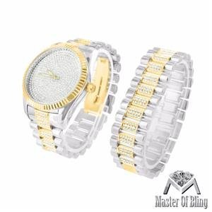 Weiss Gelb Finish Armbanduhr Herren 2 Ton Presidential Lab Diamant passendem Armband