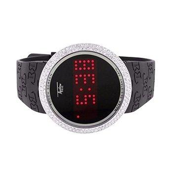Touch Bildschirm Techno Pave Armbanduhr Weiss Finish Lab Diamant Digital LED Display
