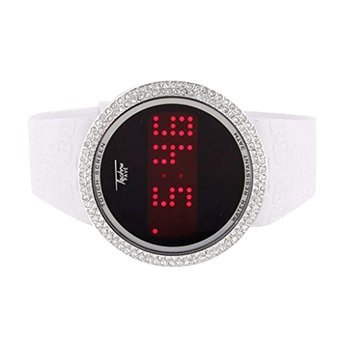 Touch Bildschirm Uhren Techno Pave weiss Silikon Band Lab Diamanten Armbanduhr