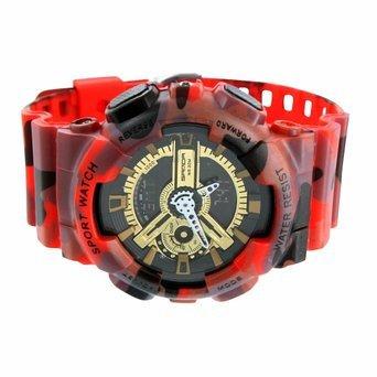 Herren Camouflage rot Armbanduhr stossfest Army Style Gold Schwarz Zifferblatt ana digita