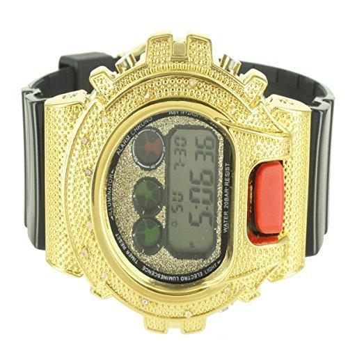 Herren CUSTOM Bling Golden Luenette Digital Techno Armbanduhr Herren Verkauf