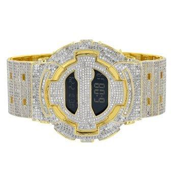 Designer G GA110 Shock Iced Out Band Custom Digital 14 K Gold Finish Armbanduhr