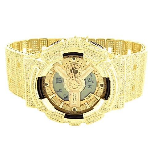 Details ueber Herren Exklusive Icy gelb Lab Diamant Gold Finish Original Echt 1AER Armbanduhr