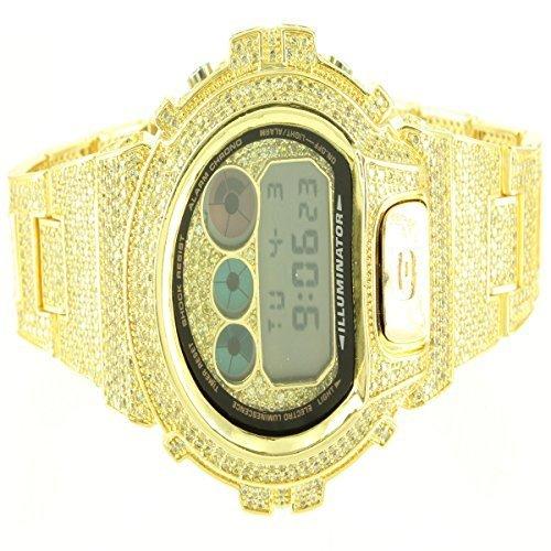 Details ueber neue gelb gold finish Classy Lab Diamant Fancy Echt 1AER Armbanduhr fuer Herren