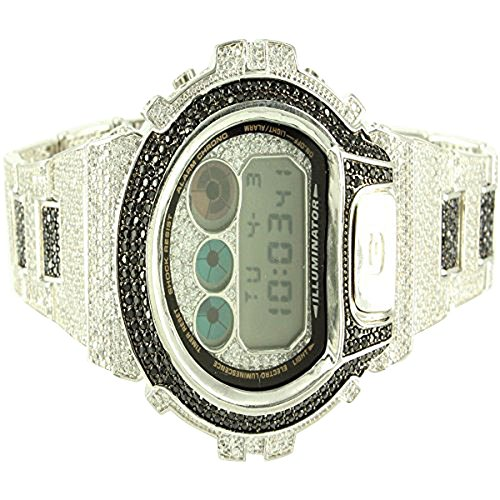 Details ueber Herren Voll Iced Out Lab Diamant weiss gold finish Authentic GShock Armbanduhr