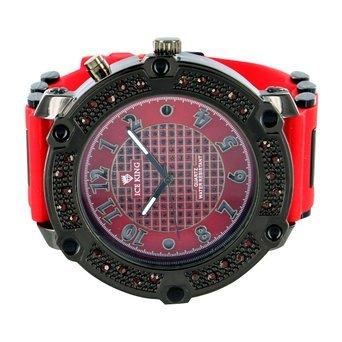 Rot Lab Diamant Armbanduhr Schwarz Gold Finish rot Gummi Band Jojo Jojino Stil Classy