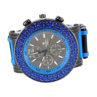 Blau Lab Diamant Herren Armbanduhr Sport Edition Jojo Jojino Style schwarz PVD Stahl