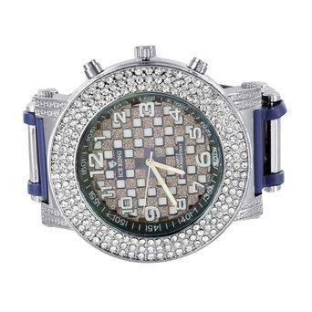 Lab Diamant Herren Armbanduhr Hip Hop Blau Silikon Band Jojino Jojo Style rund Face