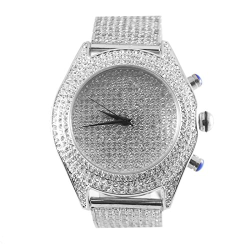 Diamant Co Herren Maxx Weiss Classy Hip Hop Lab Diamant Armbanduhr King Bling Pave Set Iced Band Silber