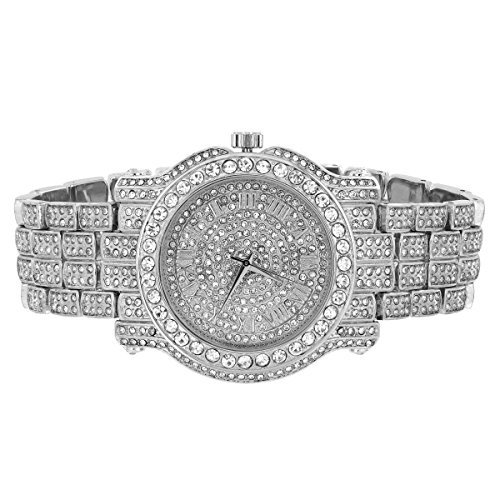 Diamant Co Herren 14 K Weiss Gold Finish Brick Design Edelstahl LAB Diamant Techno Pave Silber