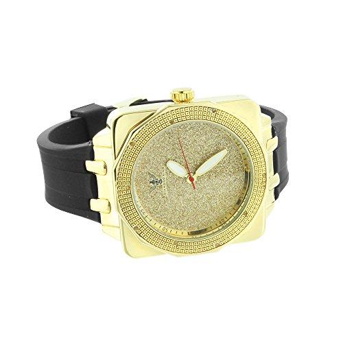 Diamant Co Herren 14 K Gelb Gold Finish quadratisches Zifferblatt Gummi Band Classy alle gelb Jojo Armbanduhr Golden