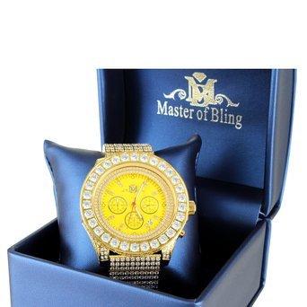 Gold Finish Lab Diamant 22 ct Kanarischen Zifferblatt Edelstahl Master of Bling Stahl Armbanduhr