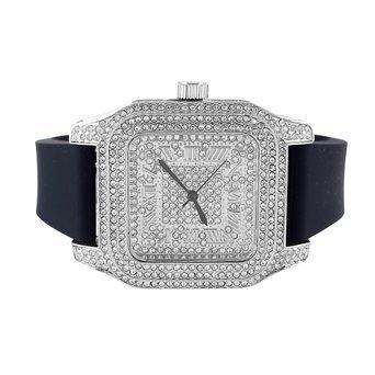 Herren New Weiss Gold Finish Lab Diamant Roemische Zahl Zifferblatt schwarz Band Armbanduhr