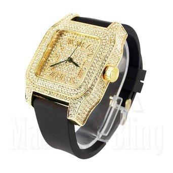Lab Diamant Techno Pave Uhren 14 K Gelb Gold Finish Herren Silikon Band
