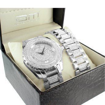 Diamond Co Herren Iced Out Diamant Armband Armbanduhr Set Analog Metall Band 14 K Weiss Gold Veredelung