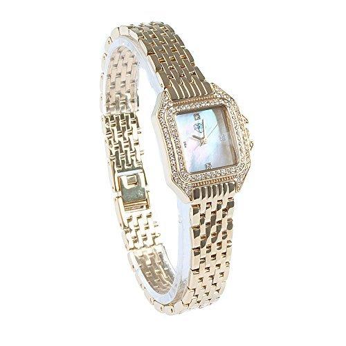 Neu Diamond Damen Gold Kleid Armbanduhr Weiss Mop Perle