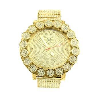 Diamond Co Herren s Big Flower Luenette Echter Diamant Khronos Diamant Uhren 14 K Gelb Gold Finish