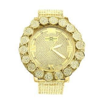 Diamond Co Herren Gold Finish big flower Luenette Echter Diamant Khronos Joe Rodeo Diamant Armbanduhr Gelb Weiss