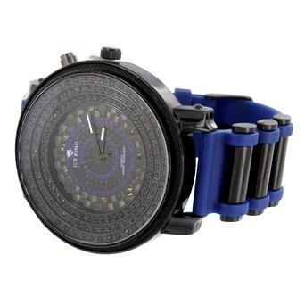 Dunkelblau Gummi Band Armbanduhr Schwarz PVD 62 mm Face Lab Diamant JoJo Jojino Stil