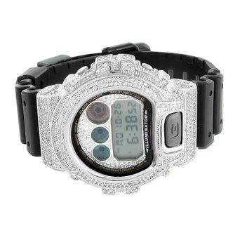 Herren G DW6900 Shock Armbanduhr Weiss Gold Finish schwarz Harz Band Digital simulierten Diamanten
