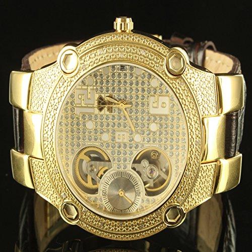Echter Diamant Golden Vater Golden Leder Band automatische Stil Aqua Master Armbanduhr