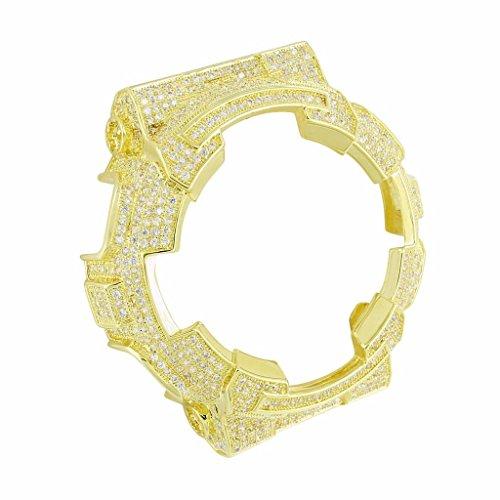 2 Ton Iced Out Elegante gelb gold finish Lab Diamant Armbanduhr Luenette G Schock