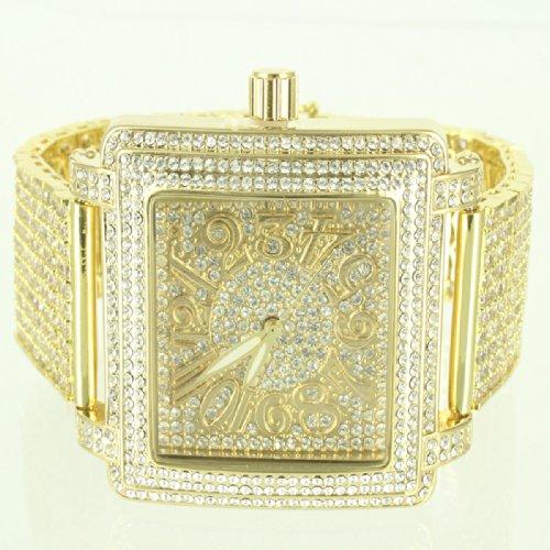 Exklusive Herren quadratisches Zifferblatt Lab Diamant Custom Luenette Iced Metall Band Armbanduhr Jojino