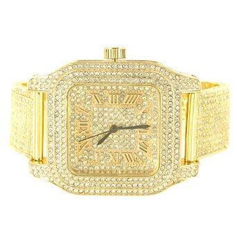 Gelb Gold Finish Lab Diamant Iced Band Techno Ebnen quadratisch Armbanduhr