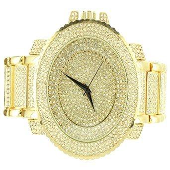 Gold Finish Lab Diamant Rapper tragen Big Face XL Pave Techno Luenette Stahl Armbanduhr
