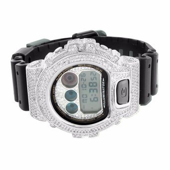 14 K Weiss Gold Finish Digital LED DW6900 Custom G Herren Shock Techno Iced Armbanduhr