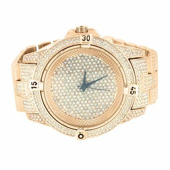 Rose Gold Finish Herren Kunstdiamant vollstaendig Iced Out Hip Hop Analog NEU
