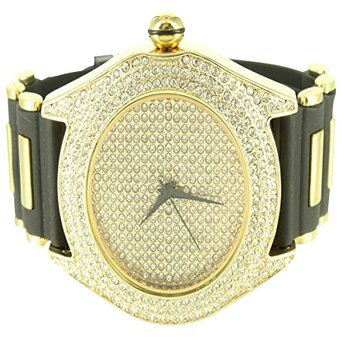 Iced Out 14 K Gold Finish Rapper Stil simuliert Diamant Techno Pave