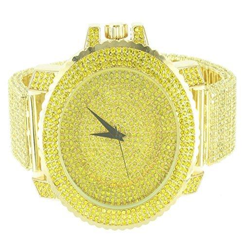 14 K Gelb Gold Finish Schritt Style Herren Techno Pave Bling King Metall Armbanduhr