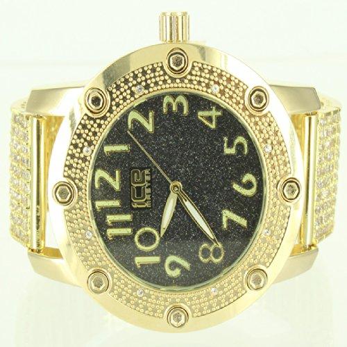 Gelb Gold Finish schwarz golden Epic 2 Ton Elegante Herren Rodeo Ice Master Armbanduhr